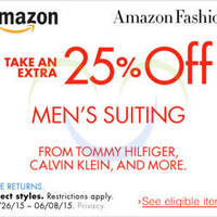 Read more about Amazon.com 25% OFF Men's Suiting (NO Min Spend) Coupon Code 26 May - 9 Jun 2015
