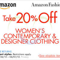 Amazon.com 20% OFF Women's Designer Clothing (NO Min Spend) Coupon Code 26 May - 2 Jun 2015