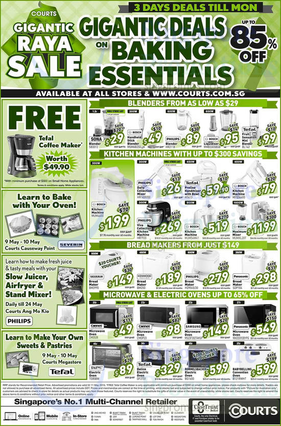 Sona SB3012 Blender, Bosch MSM6B250 Blender, Philips HR2118 Blender, Bosch MMB33G5BGB Liquidiser, Tefal BL142 Blender, Bosch MUM4600 Kitchen Machine, Philips HR1459/00 Mixer, Philips HR7920 Kitchen Machine, Tefal HT413 Handmixer, Bosch MUM54W41 Kitchen Machine, Bosch MFQ36400 Kitchen Machine, Bosch MUMXL20T Maximum Mixer, Severin BM3990 Bread Maker, Kenwood BM250 Bread Maker, Philips HD9045/30 Bread Maker, Panasonic SDP104 Bread Maker, Cornell CMOS28 Oven, Cornell CMOP23 Oven, Samsung MS23F302TAKSP Oven, Panasonic NNDS592BYPQ Oven, Taiyo TE85BW Oven, Tefal OF2731 Oven, Rommelsbacher BG1600 Oven and Babybelling B121RWHT Oven