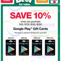 Google Play 10% OFF Gift Cards Promotion @ Cheers 30 May - 3 Jun 2015