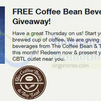 Read more about Coffee Bean & Tea Leaf FREE Beverage Voucher For Singtel Customers (Fully Redeemed!) 14 May 2015