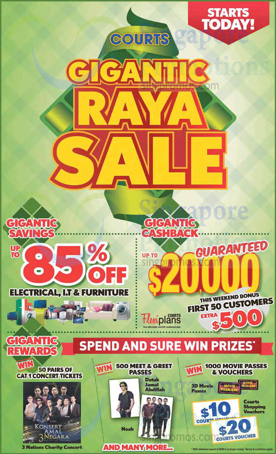 Courts Gigantic Raya Sale, Cat 1 Concert Tickets, Meet n Greet Passes, Shopping Vouchers
