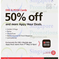 DBS Lifestyle App 50% Off Appy Hour Deals For DBS/POSB Cardmembers 7 - 8 May 2015