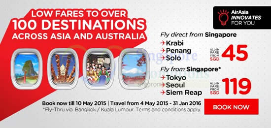 Fly From SGD45 Asia n Australia
