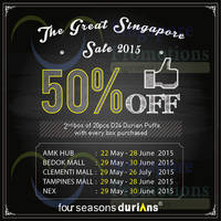 Read more about Four Seasons Durians 50% Off D24 Durian Puffs @ Selected Outlets 29 May - 26 Jul 2015