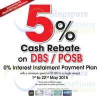Harvey Norman 5% Cash Rebate With DBS/POSB Cards 7 - 22 May 2015