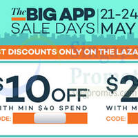 Read more about Lazada $10 to $20 OFF min $40 Spend Storewide Coupon Codes 21 - 24 May 2015