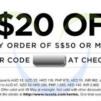 Read more about Luxola $20 OFF Storewide ($50 Min Spend) Coupon Code 16 - 18 May 2015