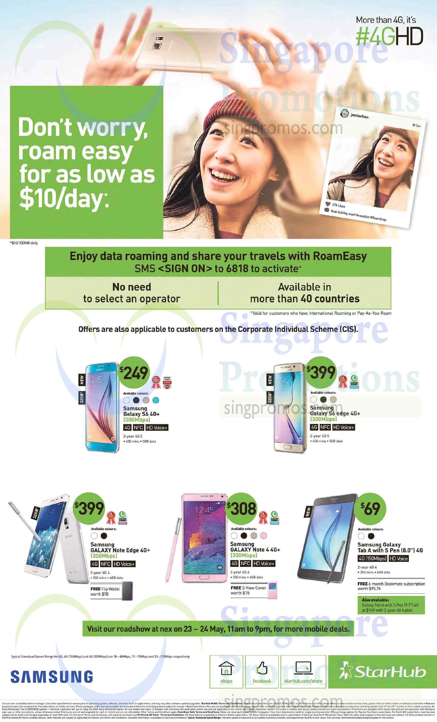Nex Roadshow, Samsung Galaxy S6, Samsung Galaxy S6 Edge, Samsung Galaxy Note Edge, Samsung Galaxy Note 4, Samsung Galaxy Tab A 8.0