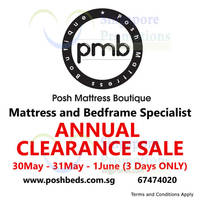 Read more about Posh Mattress Boutique Annual Clearance Sale 30 May - 1 Jun 2015