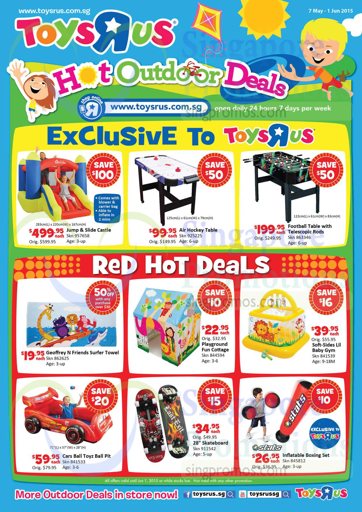 "Jump n Slide Castle, Air Hockey Table, Football Table with Telescopic Rods, Soft-Sides Lil Baby Gym, 28""Skateboard, Cars Ball Toyz Ball Pit"