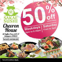 Sakae Sushi 50% Off Entire Menu @ Chevron House 30 May 2015