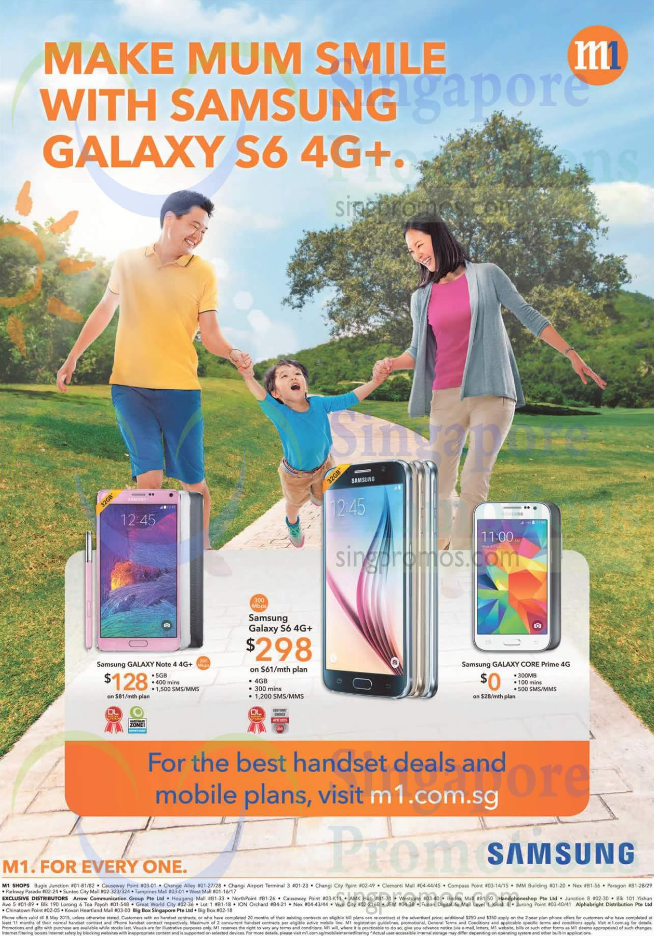Samsung Galaxy Note 4, Samsung Galaxy S6, Samsung Galaxy Core Prime