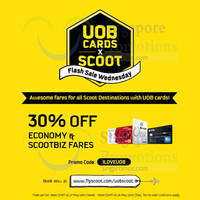 Scoot 30% Off Promo Fares For UOB Cardmembers 27 - 28 May 2015