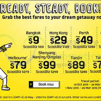 Scoot fr $9 Promo fares 29 May - 1 Jun 2015