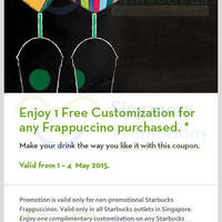 Read more about Starbucks Buy Frappuccino & Get FREE Customisation Coupon 1 - 4 May 2015