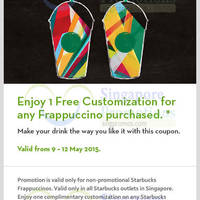 Read more about Starbucks Buy Frappuccino & Get FREE Customisation Coupon 11 - 12 May 2015