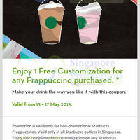Read more about Starbucks Buy Frappuccino & Get FREE Customisation Coupon 13 - 17 May 2015