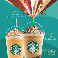Starbucks NEW Orange Honeycomb Crunch & Triple Coffee Jelly Drinks 26 May 2015