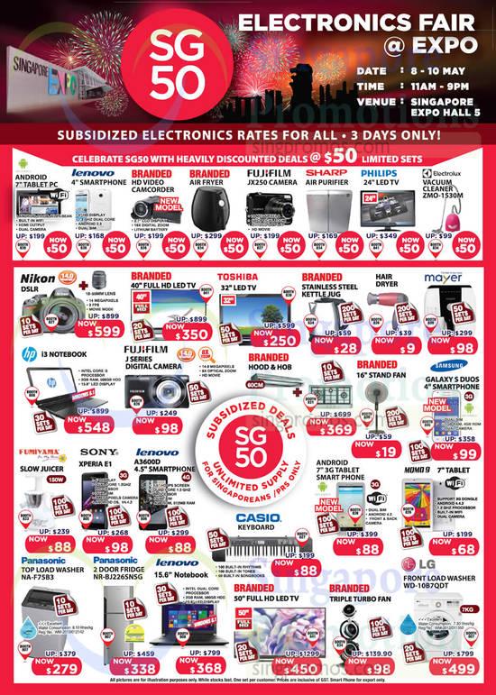 Fujifilm JX250 Digital Camera, Electrolux ZMO-1530M Vacuum Cleaner, Samsung Galaxy S Duos Smartphone, Sony Xperia E1 Smartphone, Lenovo A3600D Smartphone, Momo 9 Tablet 7.0, Panasonic NA-F75B3 Washer, Panasonic NR-BJ226SNSG Fridge, LG WD-10B7QDT Washer