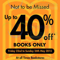 Read more about Times Bookstores Up To 40% Off 22 - 24 May 2015