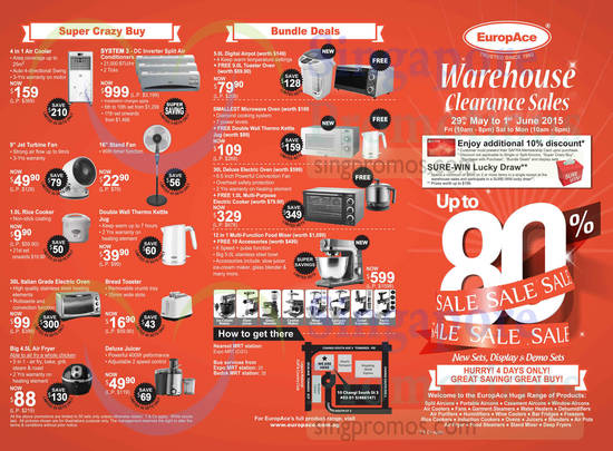Warehouse Clearance Sales Bundle Deals, Super Crazy Buys, Home Appliances, Location Map