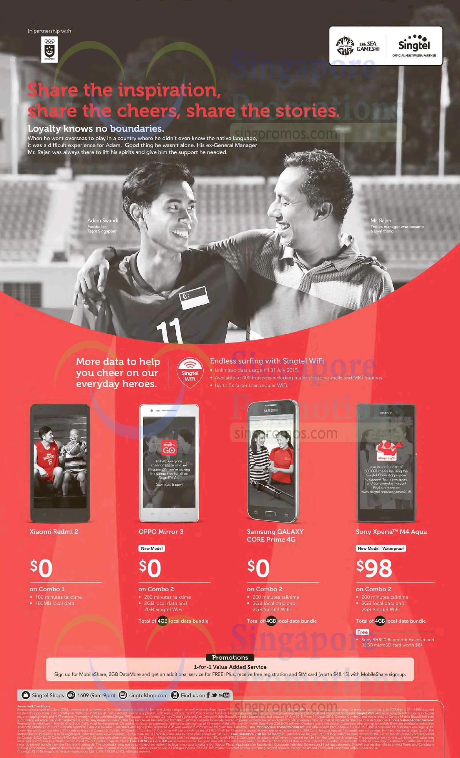 Xiaomi Redmi 2, Oppo Mirror 3, Samsung Galaxy Core Prime 4G, Sony Xperia M4 Aqua