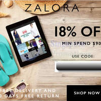 Zalora 18% OFF ($90 Min Spend) Storewide Coupon Code 1 - 31 Jul 2015