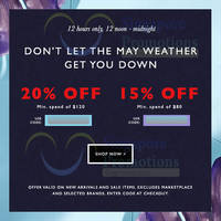 Read more about Zalora 15% to 20% OFF ($80 Min Spend) Storewide 1-Day Coupon Codes 6 May 2015