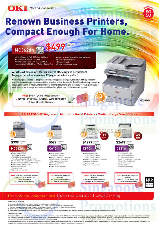 OKI MC362dn Multi-function Printer, OKI MC562dn Multi-function Printer, OKI C610n Multi-function Printer, OKI C810n Multi-function Printer, OKI C831n Multi-function Printer
