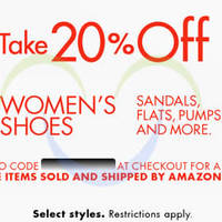 Read more about Amazon.com 20% OFF Women's Shoes (NO Min Spend) Coupon Code 17 - 18 Jun 2015