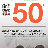 Firefly fr $50 (all-in) Promo Fares 2 - 14 Jun 2015