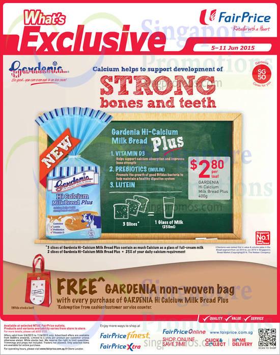Gardenia Hi Calcium Milk Bread Plus, Free Gardenia Non Woven Bag
