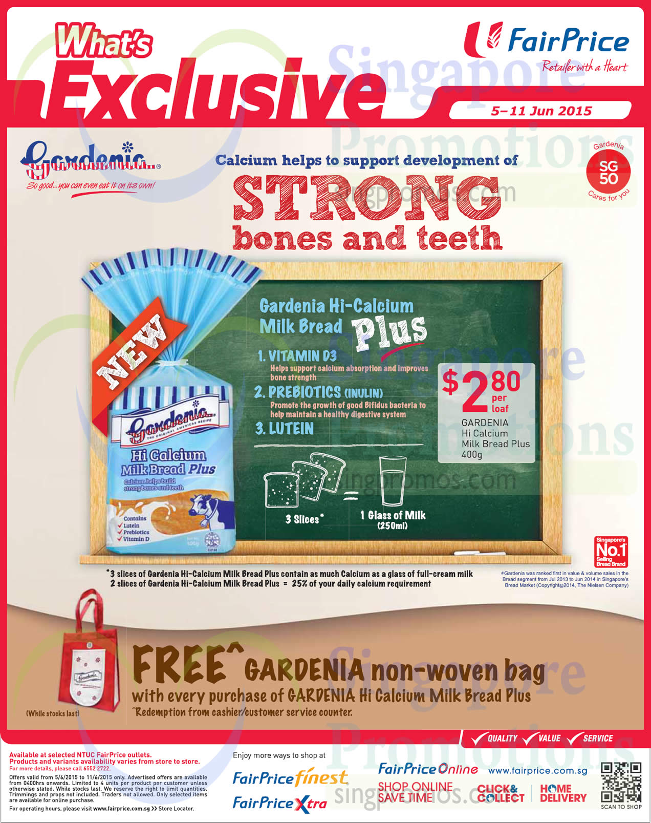 Gardenia Hi Calcium Milk Bread Plus, Free Gardenia Non Woven Bag