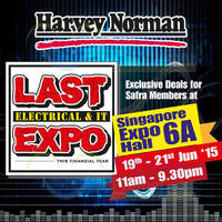 Read more about Harvey Norman Electrical & I.T Expo @ Singapore Expo 19 - 21 Jun 2015