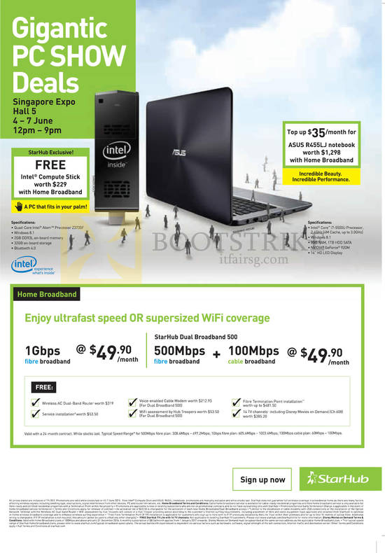 Highlights 1Gbps Fibre 49.90, Free Intel Compute Stick, ASUS R455LJ Notebook, Dual Broadband 500