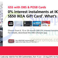 Read more about IKEA Free $50 Gift Card With DBS/POSB 0% Interest IPP Plans 16 Jun - 23 Aug 2015