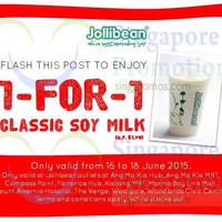 Read more about Jollibean 1 For 1 Classic Soy Milk Coupon 16 - 18 Jun 2015