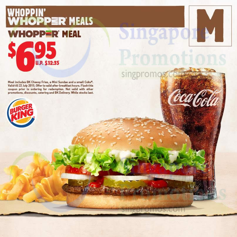 M 6.95 Whopper Value Meal » Burger King Dine-in Discount ...