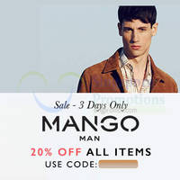 Read more about Mango 20% Off Storewide Online Flash Sale Coupon Code 8 - 10 Jun 2015