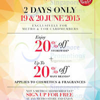 Read more about Metro 20% Off Storewide Promotion 19 - 20 Jun 2015