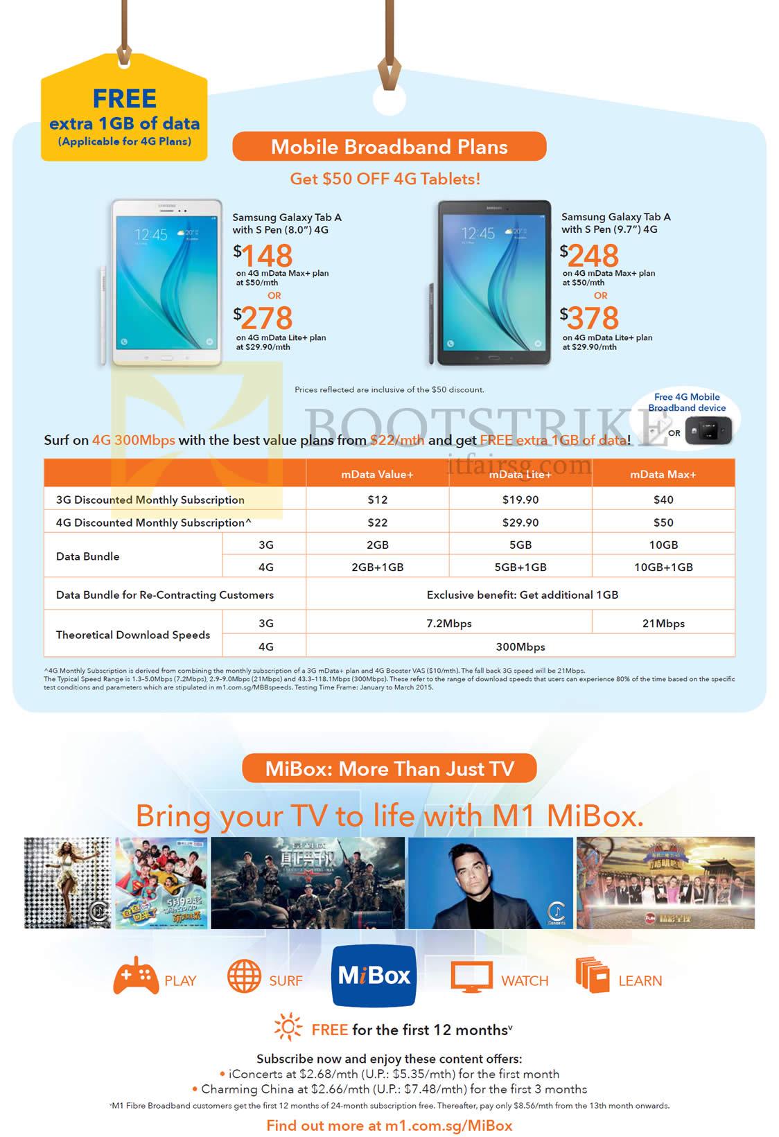 Mobile Broadband Plans mData, Samsung Galaxy Tab A, MiBox