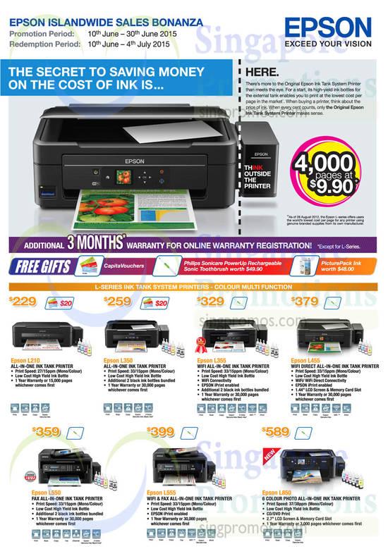 Epson L210 Printer, Epson L350 Printer, Epson L355 Printer, Epson L455 Printer, Epson L550 Printer, Epson L555 Printer, Epson L850 Printer