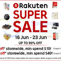 Read more about Rakuten Singapore $5 to $10 OFF ($10 Min Spend) 1-Day Coupon Codes 16 Jun 2015