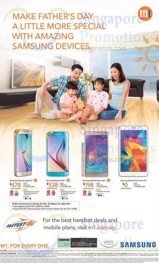 Samsung Galaxy S6 Edge, Samsung Galaxy S6, Samsung Galaxy Note 4, Samsung Galaxy Tab 4 7.0