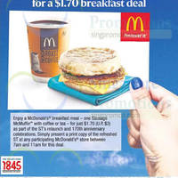 McDonald's $1.70 Breakfast Deal For Straits Times Readers 1 Jul 2015