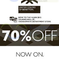 Read more about United Colors of Benetton 70% Off Promotion @ Takashimaya 5 - 16 Jun 2015