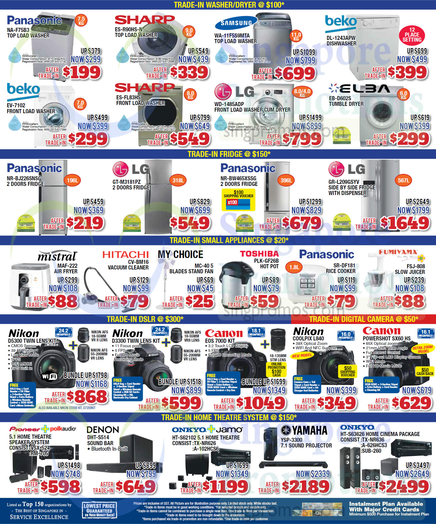 Panasonic NA-F75B3 Washer, Sharp ES-R90HS-N Washer, Samsung WA-11F5S9MTA Washer, Beko DL-1243APW Dishwasher, Beko EV-7102 Washer, Sharp ES-FL83HS Washer, LG WD-1485ADP Washer, Elba EB-D602S Dryer, Panasonic NR-BJ226SNSG Fridge, LG GT-M3181PZ Fridge, Panasonic NR-BW465XSSG Fridge, LG GR-L209GSYV Fridge, Mistral MAF-222 Air Fryer, Hitachi CV-BM16 Vacuum Cleaner, My Choice MC-40 5 Fan, Toshiba PLK-GF26B Hot Pot, Panasonic SR-DF181 Rice Cooker, Fumiyama FSJ-808 Slow Juicer, Nikon D5300 DSLR Digital Camera, Nikon D3300 DSLR Digital Camera, Canon EOS700D DSLR Digital Camera, Nikon Coolpix L840 Digital Camera, Canon Powershot SX60 HS Digital Camera, Denon DHT-S514 Sound Bar, Yamaha YSP-3300 7.1 Sound Projector and Onkyo HT-S63626 Home Cinema Package