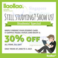 Read more about llaollao 30% Off Storewide Student Promo @ Capitol Piazza 29 Jun - 3 Jul 2015