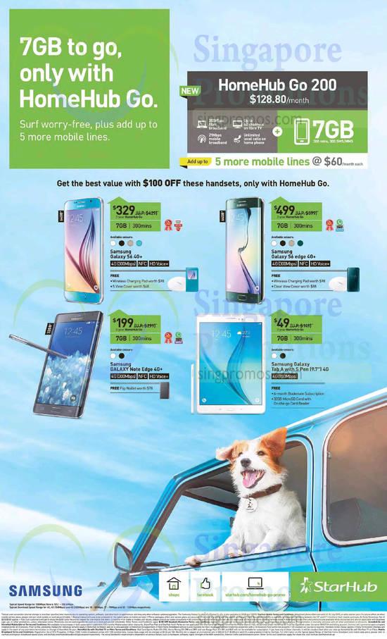 128.80 HomeHub Go 200, Samsung Galaxy S6, Samsung Galaxy S6 Edge, Samsung Galaxy Note Edge, Samsung Galaxy Tab A 9.7